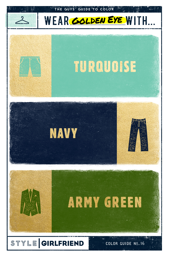 gold, olive, turquoise, navy, color pairing, menswear