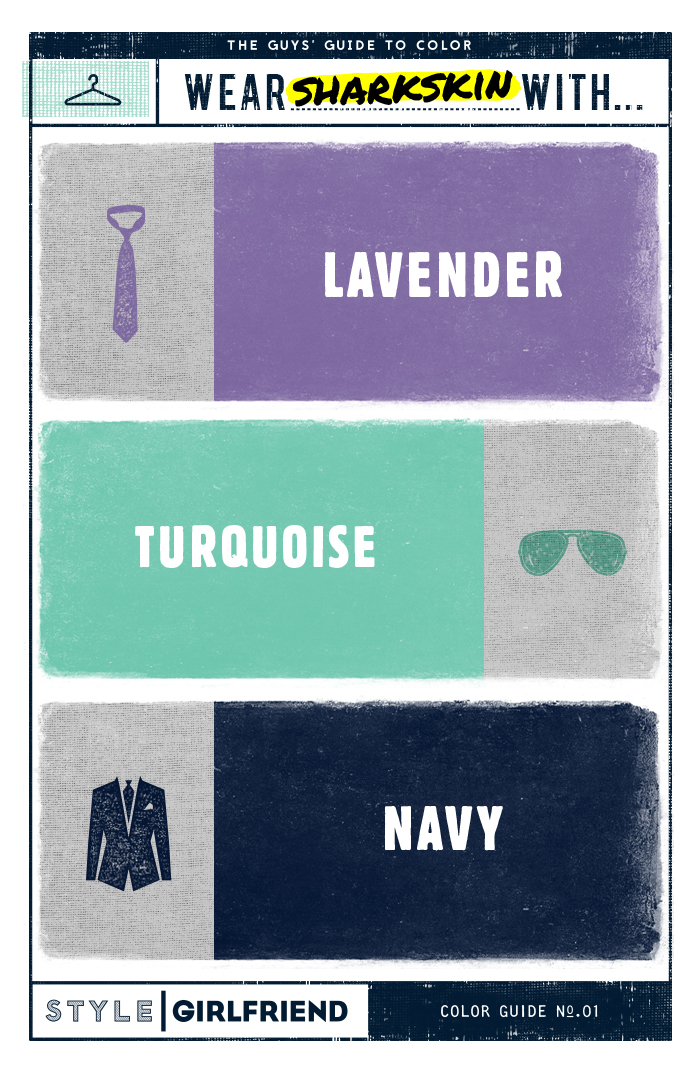 menswear, color pairing, gray, sharkskin gray, lavender, turquoise, navy