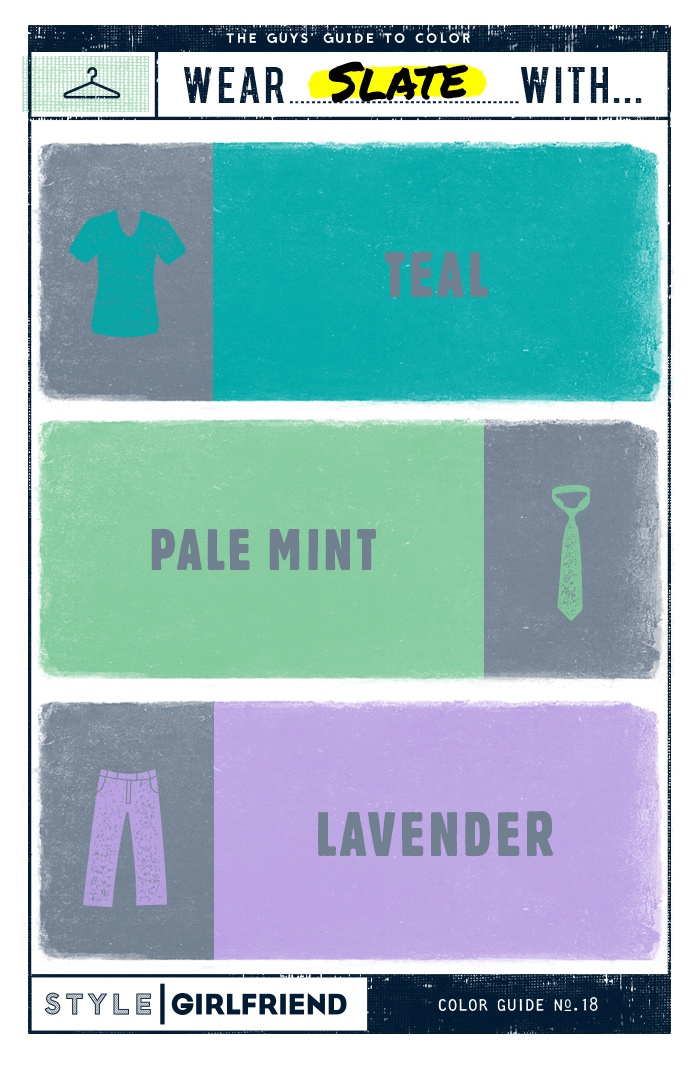 teal, pale mint, lavender, slate gray, grey, color pairing, menswear