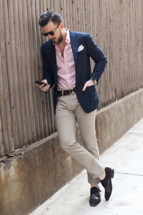 how to wear a salmon-colored shirt