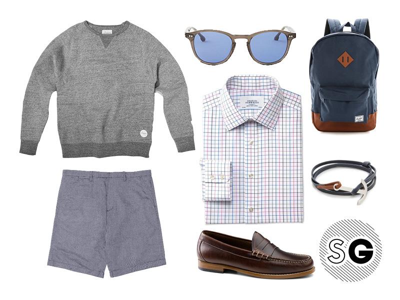 shorts, sweatshirt, check shirt, sunglasses, bass, steven alan, miansai, herschel, saturdays