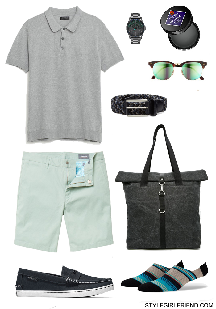 how to wear slate, mint shorts, t-shirt, sneakers, blue, teal, aqua