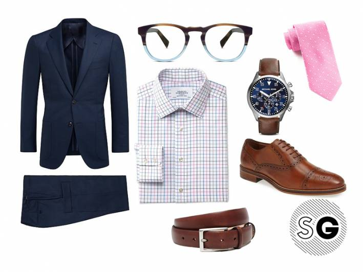 suit, navy, pink tie, watch, check shirt