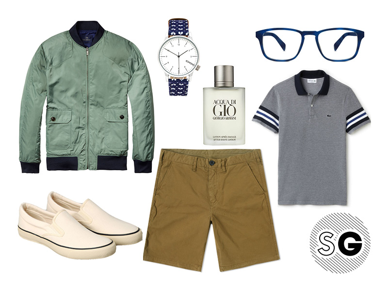 chino shorts, khaki chino shorts, polo, lacoste, reversible, bomber, scotch and soda, komono, warby parker, the hill side, armani