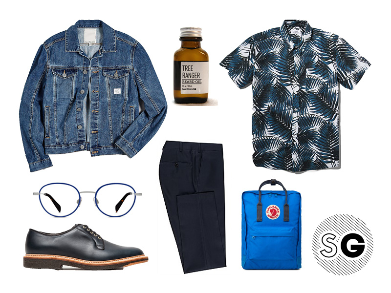 denim jacket, suit pants, short sleeve shirt, palm, fjallraven, alden, saturdays nyc, calvin klein, my calvins, warby parker, beardbrand