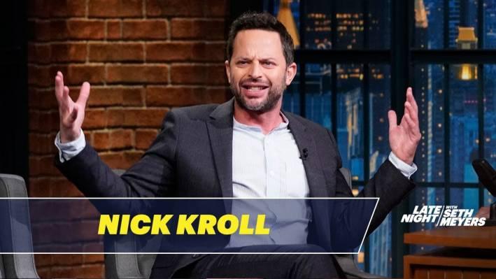 nick kroll on seth meyers wearing a band collar shirt