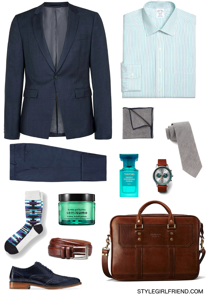 sharkskin, navy, suit, turquoise, office, suiting, menswear
