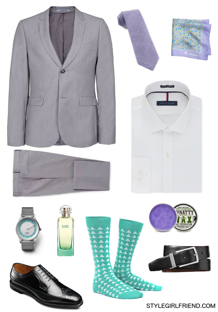 slate gray, gray, suiting, menswear, lavender, mint, aqua, dapper