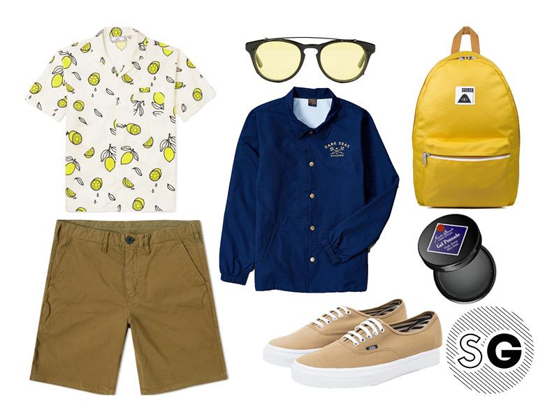 poler, han kjobenhavn, paul smith, khaki chino shorts, lemons, ami, vans, jack black, pomade, dark seas,