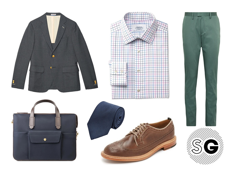 green pants, blazer, sportscoat, trousers, hopsack, cole haan, acne