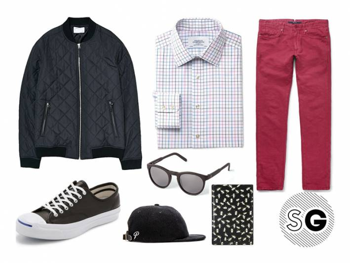 red pants, retrosuperfuture, carhartt wip, charles tyrwhitt, paul smith, jack purcell, converse, publish