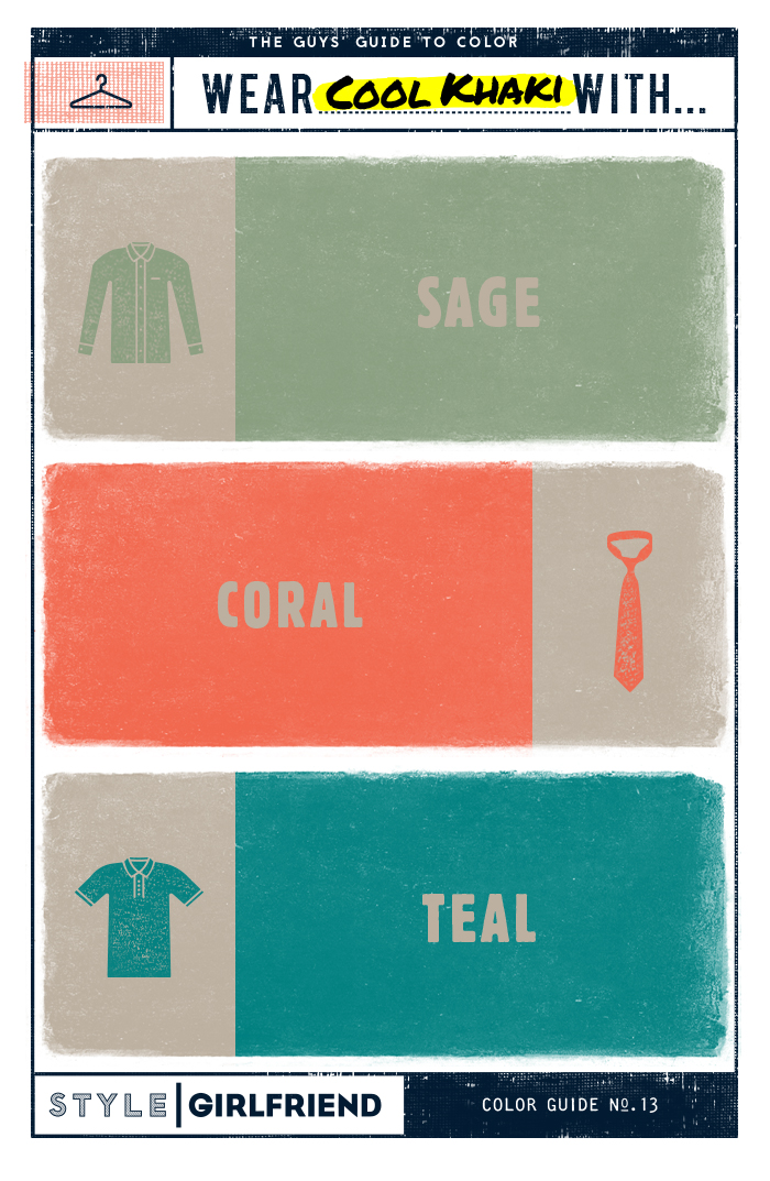 teal, coral, sage, khaki, how to wear, menswear, style