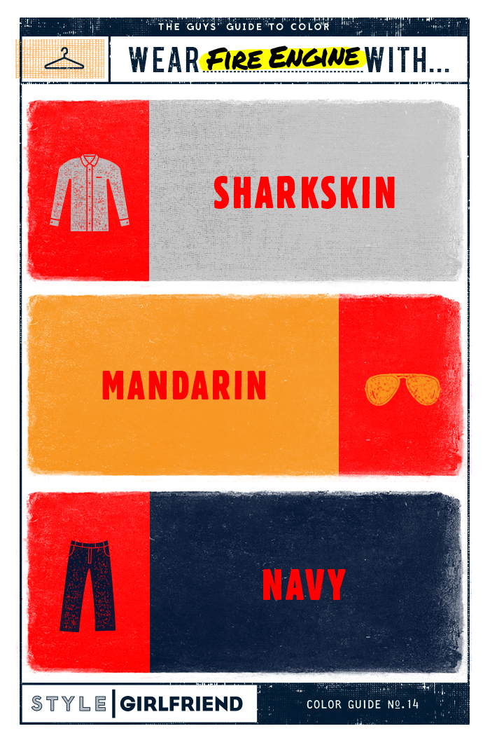 red, gray, navy, orange, color guide, menswear, color pairing, fashion