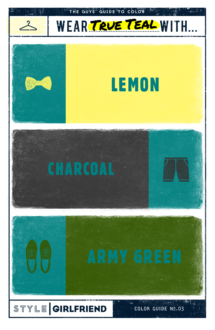 teal, yellow, green, olive, charcoal, gray, menswear, color guide