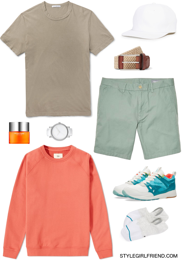 coral, sage, khaki, orange, sneakers, hat