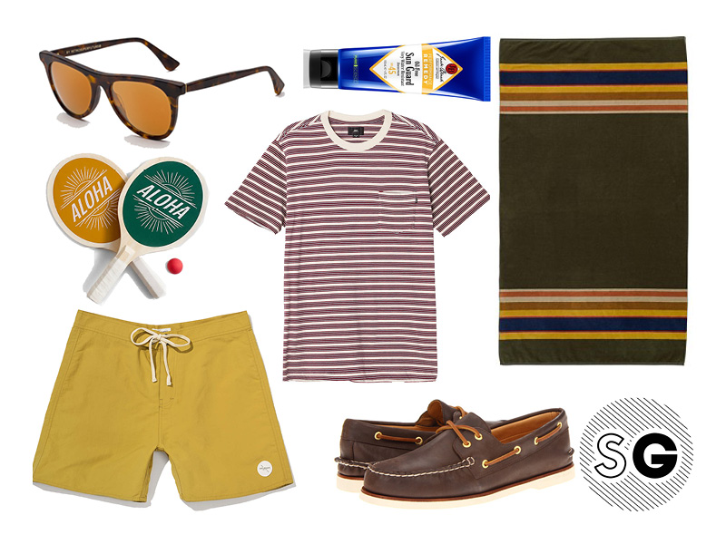 beach, shore, vintage, mustard, pendleton, boat shoes, retrosuperfuture, retro, michael cera, jack black, sperry, aloha, paddle ball