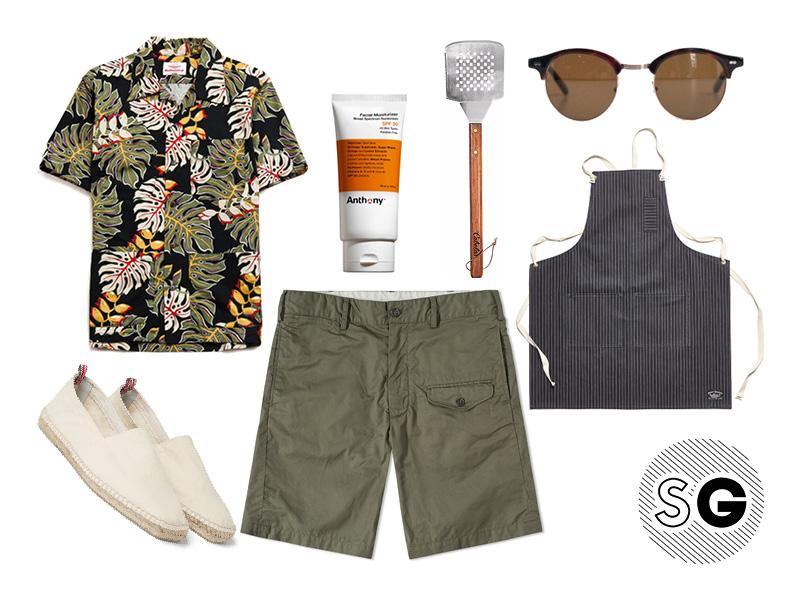 hawaiian print, palm print, modern cargo short, cargo, bbq, grilling, sunscreen, summer activities, espadrilles