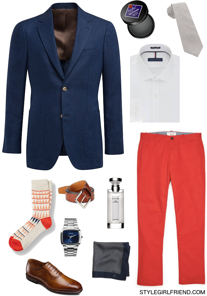 how to wear red, how to wear bright red, wear red at work, red chinos, navy blazer, men's style, work wardrobe, casual friday, business casual