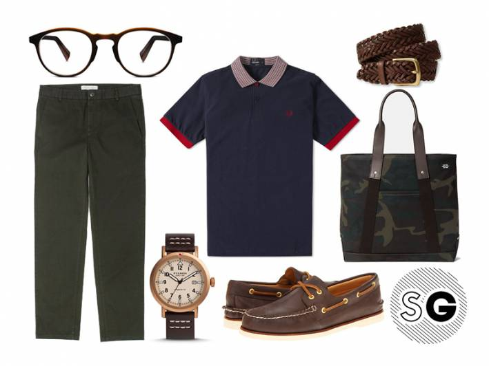boat shoes, sperry topsider, fred perry, warby parker, jack spade, l.l. bean, braided belt, polo, filson