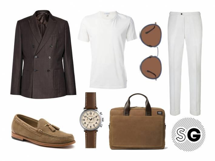 white tee, suit supply, shinola, bass, jack spade