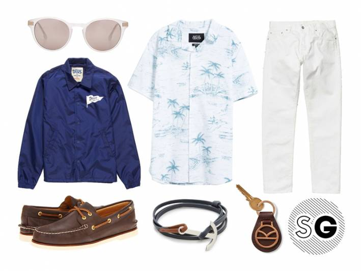 white, deus ex machina, white jeans, boat shoes, sperry topsider