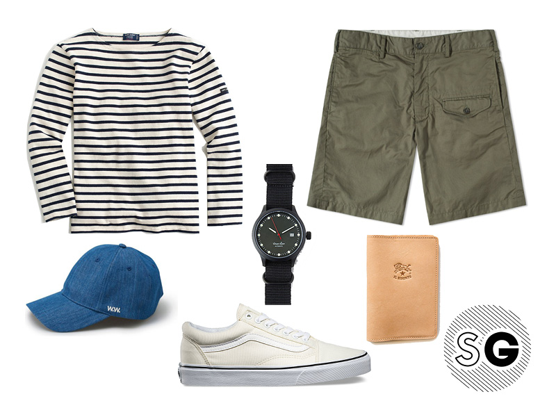 breton, stripes, cargo, vans, wood wood, st. james, engineered garments, shorts, military