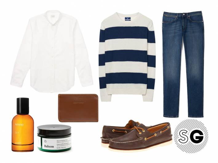 band collar, stripes, gant, boat shoes, denim, acne studios, sperry top-sider, ami, balsem, aesop, frank + oak