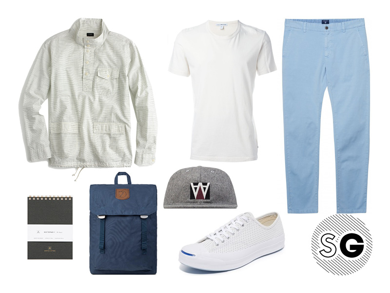 preppy, student, chinos, popover, white tee