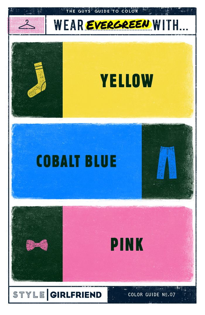 how to wear evergreen, cobalt blue, pink , yellow, men's style
