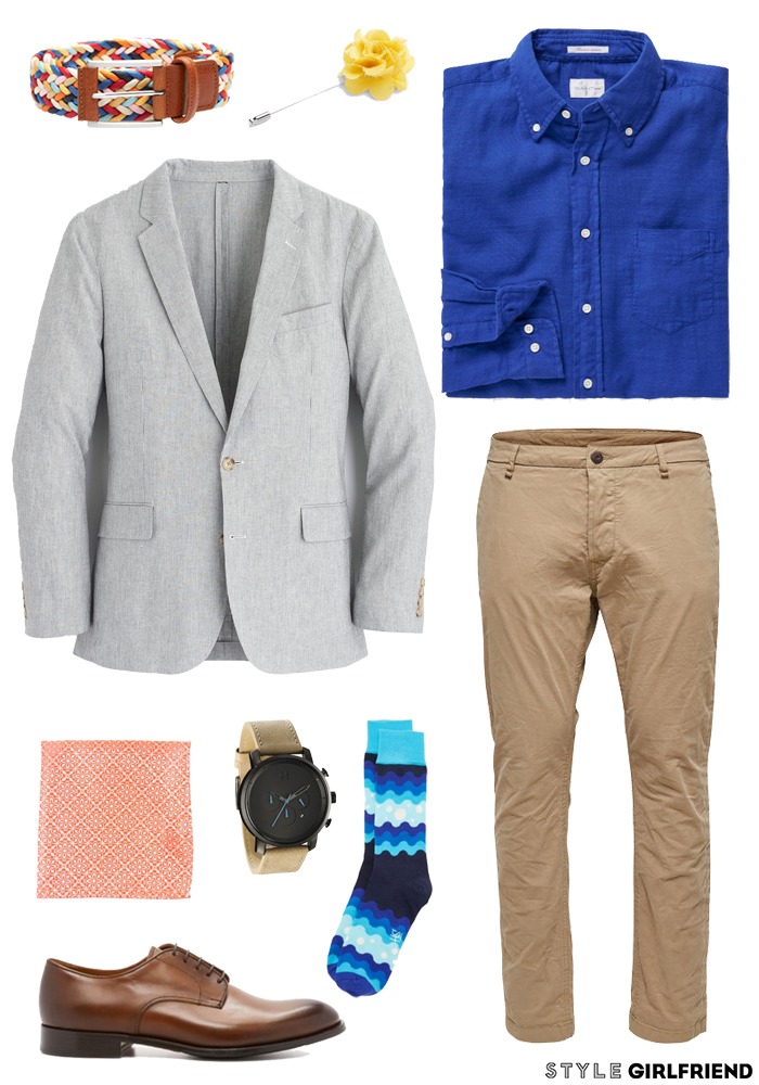 how to wear cobalt, cobalt guide, guys guide to cobalt, cobalt, blue, work, work wardrobe, work attire, office attire, work dress, button down, chinos, blazer, coral, lemon, office outfit, office wardrobe, office appropriate, weekend, weekend style, weekend wardrobe, weekend outfit, anorak, graphic tee, chino shorts, water bottle, weekend look