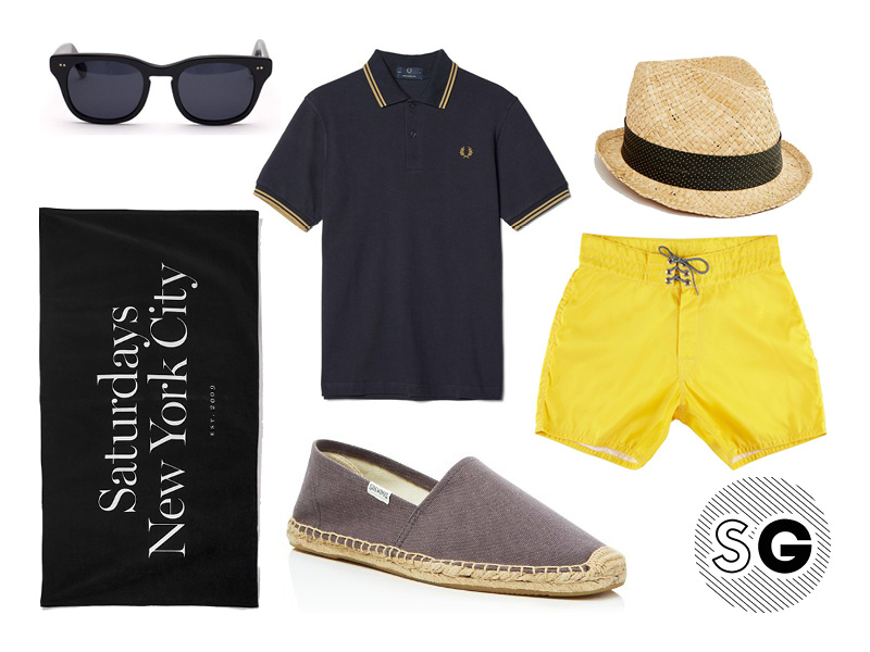 yellow, fred perry, polo, straw hat, saturdays nyc