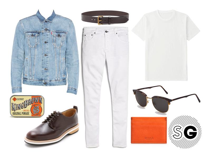 white on white, white denim, white jeans, denim jacket, canadian tuxedo, shinola, retrosuperfuture, king brown, filson