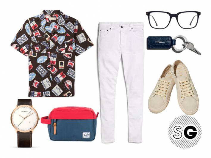 white jeans, white denim, superga, scotch & soda, maison kitsuné, herschel supply co, bering, shinola, steven alan optical