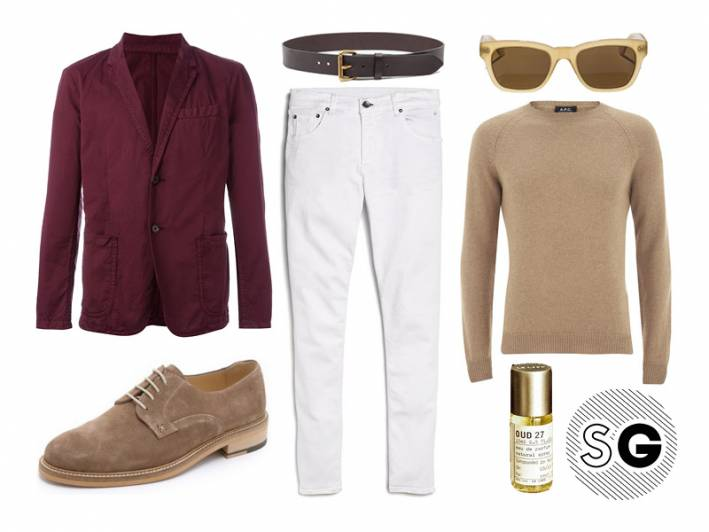 white denim, white jeans, chino blazer, oud 27, le labo, a.p.c., saturdays