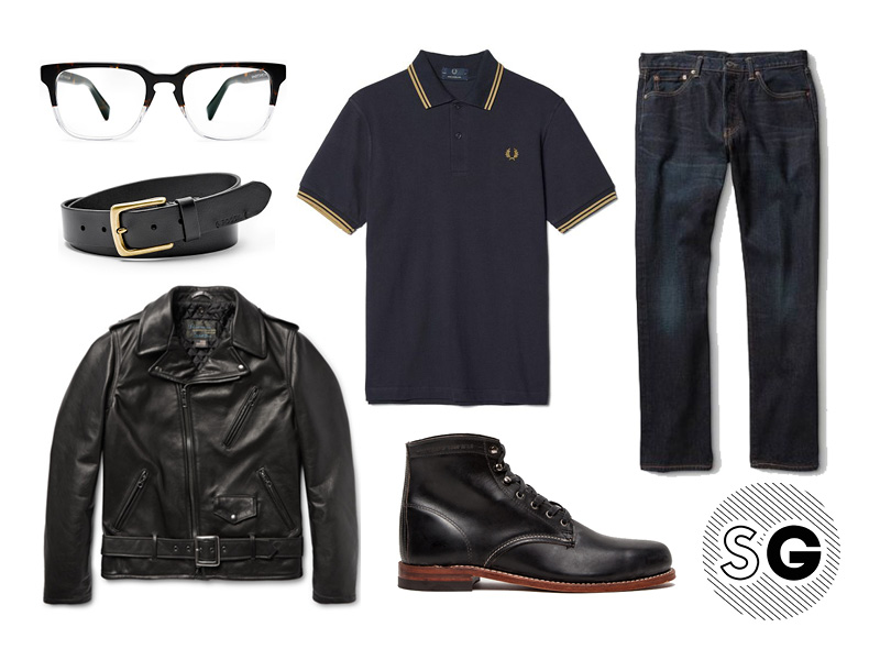 leather, biker, fred perry, polo