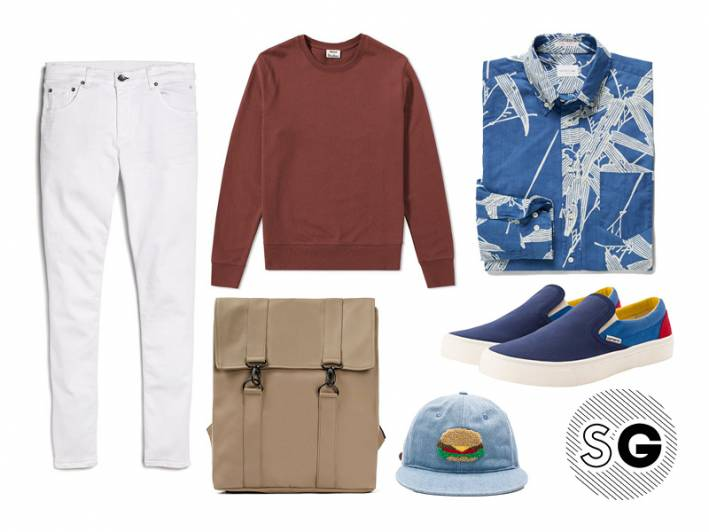 white jeans outfit for guys