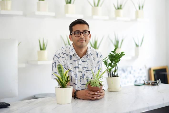 dev saha the sill, the sill, plants, office style, what he wore, what he wore the sill office style
