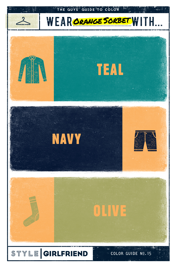 color, orange, orange sorbet, color guide, style essentials, summer style, summer colors, guy's guide to wearing orange sorbet, teal, navy, olive