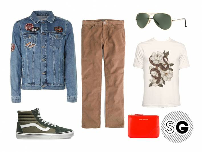 casual corduroy pants outfit for men