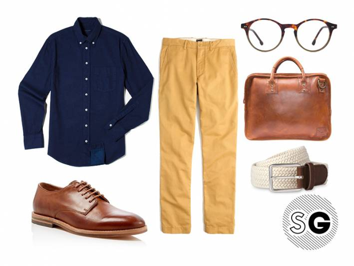 chino, steven alan, denim shirt, everlane, bright colors