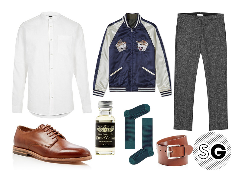 business casual, high low styling, souvenir jacket, neppy pants, band collar, fall trend, aw 16, menswear