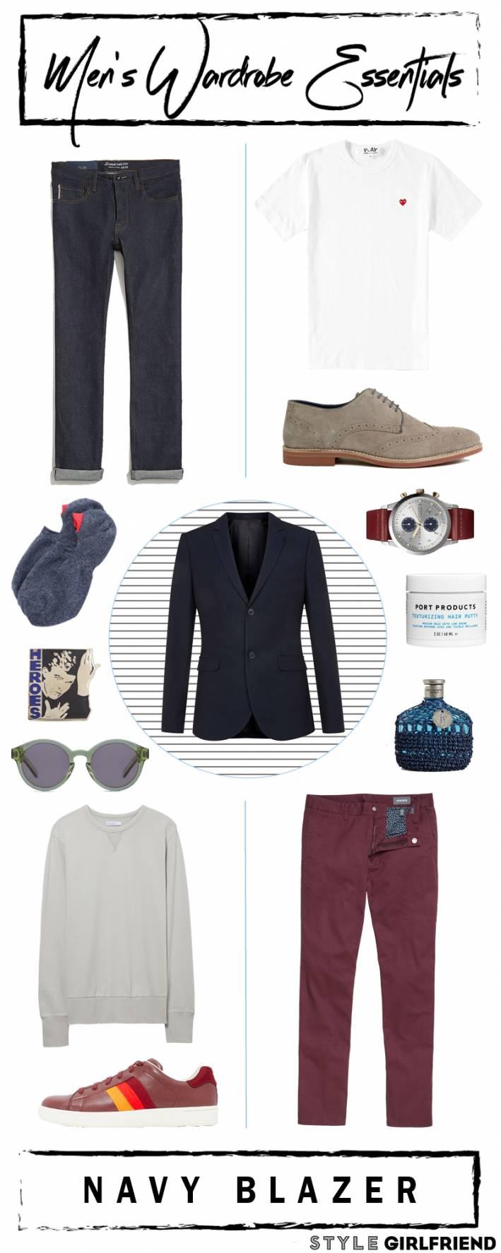 navy blazer, men's wardrobe essentials, how to wear navy blazer