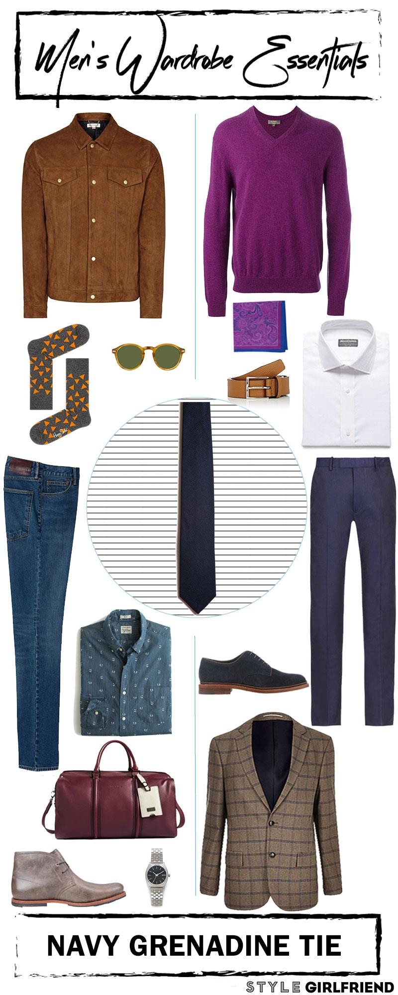 mens wardrobe essential, navy geraldine tie, style girlfriend, mens outfit laydown,