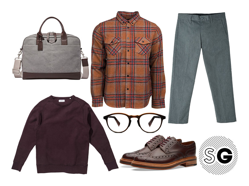 casual office, flannel, plaid, layer, fall, saturdays, warby parker, grenson, obey, fossil