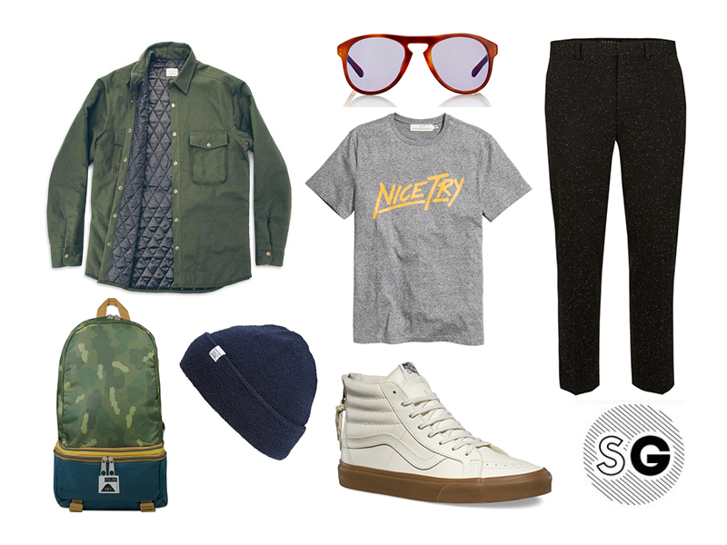 shacket, military trend, graphic tee, vans, poler, norse projects, beanie season