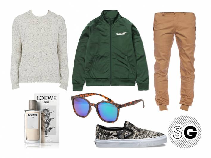 loewe, joggers, morning after, sweater, vans, carhartt, coffee run, casual, pajama life