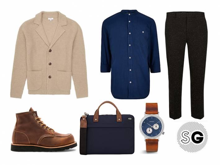 band-collar, sweater, cardigan, jack spade, reiss, cropped trousers, komono