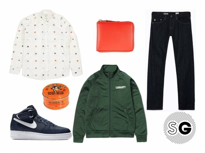 date night, track jacket, soulland, murray's, carhartt, wip, nike air force ones, ag