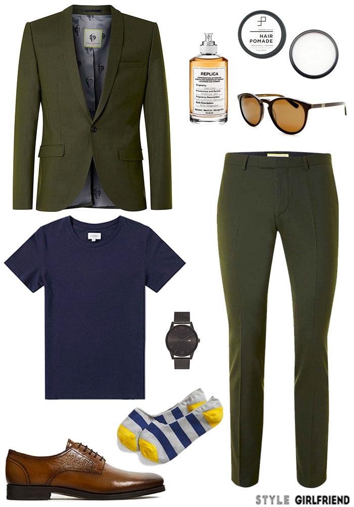 steal his look, edgar ramirez, olive green suit,