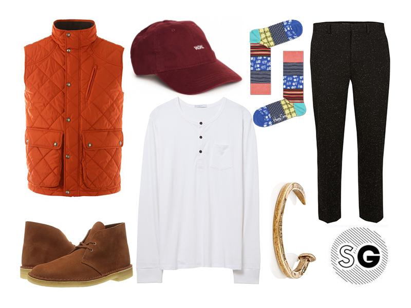 puffer vest, henley, fall, casual, apple picking, pumpkin, burgundy, happy socks